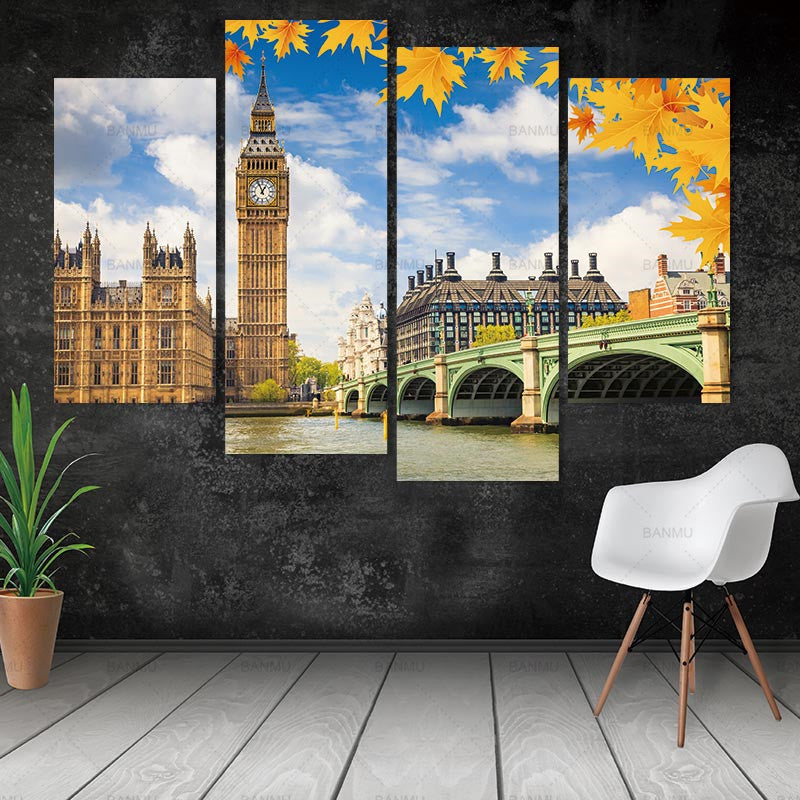 canvas painting landscape art wall picture Big Ben building 4 Panel Wall Canvas no frame Architecture Pictures For Home Decor
