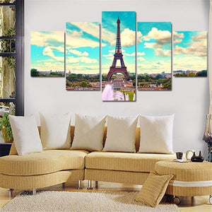 BANMU 5 Piece Eiffel Tower In Paris Landscape Modern Home Wall Decor Canvas Picture Art HD Print Painting on Canvas