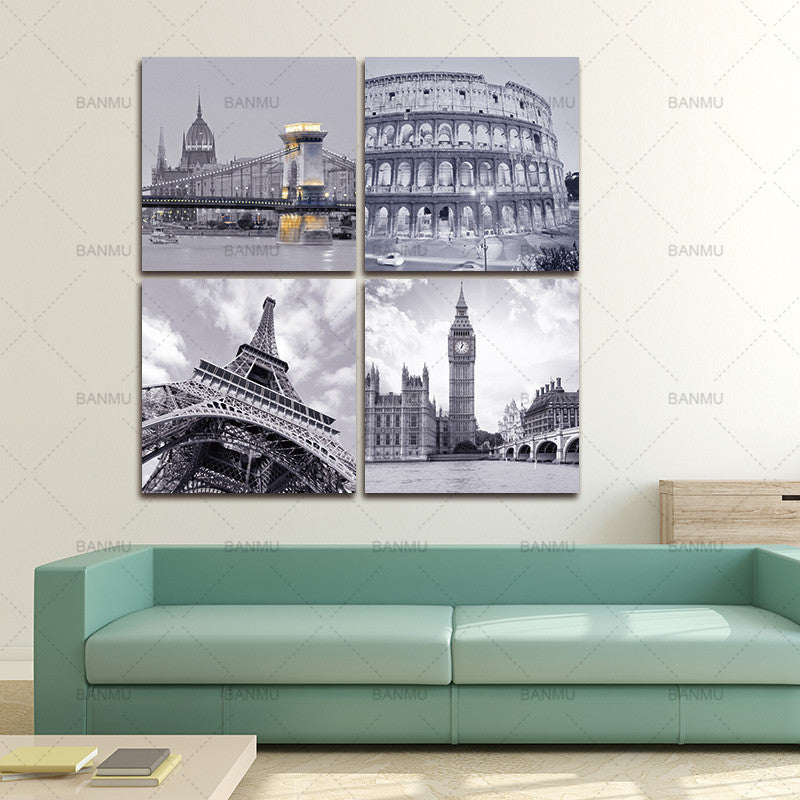 BANMU canvas Painting Wall Artworks Painting Canvas Art 4 Piece Famous Buildings Roman Colosseum Big Ben Eiffel Tower