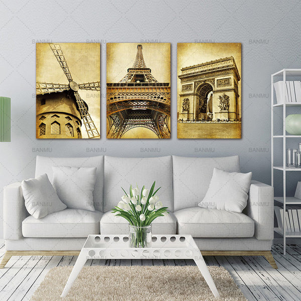 BANMU 3 Panels Landscape Artwork Giclee Canvas Prints on Canvas Painting Wall Art for Living Room Bedroom Home Decor