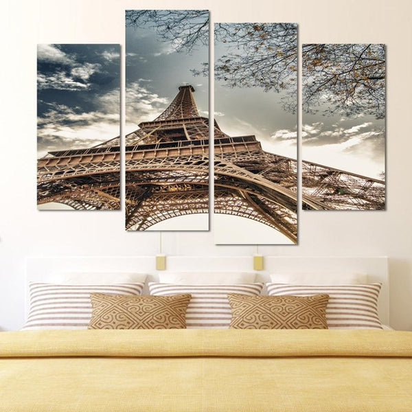 4 Panels Unframed Canvas Photo Prints Eiffeltoren Wall Decorations for Living Room Home Office Artwork Giclee Paintings