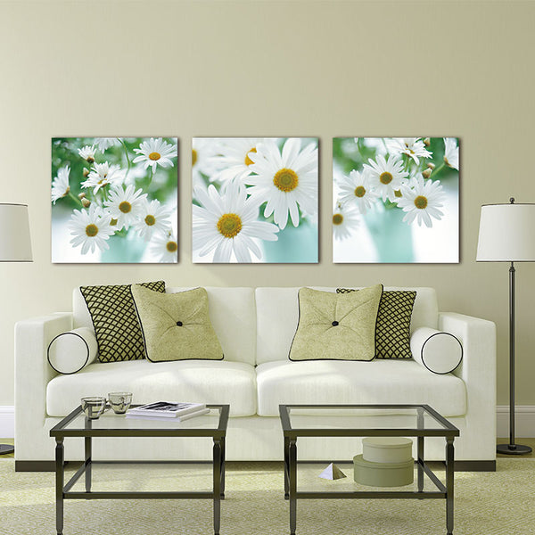 Floral Still Life Of White African Daisy Flower Gerbera Daisy 3 Pieces Panel Paintings Modern Giclee  Artwork Painting wall