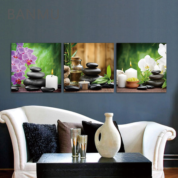 Unframed 3 Panels Purple Flowers Candle Canvas Painting Large HD Wall Pictures For Living Room Waterproof Modular Pictures
