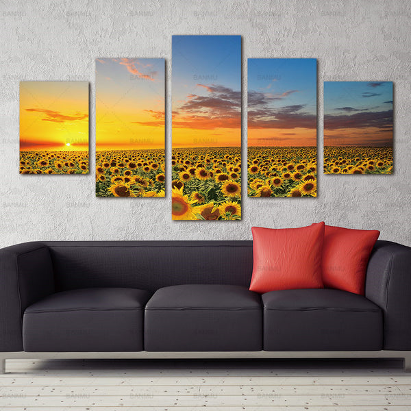 canvas painting Oil Painting Sunflower Modular Canvas Art Landscape Sun Print and Poster Wall Picture for Living Room Frameless