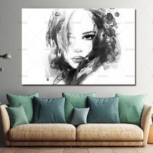 Prints Wall Art Canvas Painting Black White Girl Posters Nordic Decoration Cuadros For Living Room
