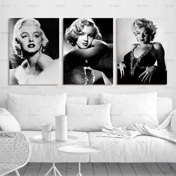 Canvas Painting Poster Monroe home decoration combinative 3 panel modern sexy Marilyn picture on wall printed painting no frame