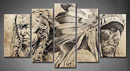 canvs painting wall art home decor 5 Panel Wall Art Tattoo Sketch Of American Indian Warriors Painting Pictures Print On Canvas