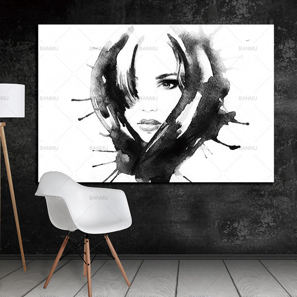 Canvas Painting Art HD Print Poster   Nordic Minimalist Modern Watercolor  Print Girl on  Wall Stickers Living Room Home Decor