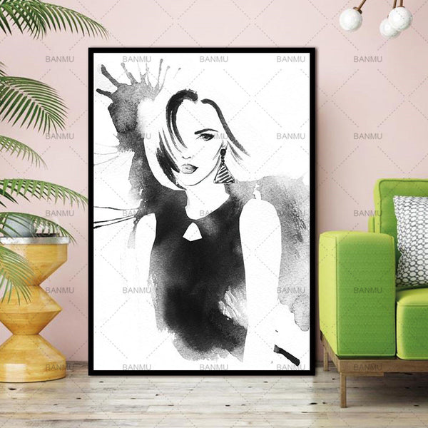 New Nordic Decoration Elegant Girl Posters And Prints Wall Pictures For Living Room Wall Art Canvas Painting No picture Frame