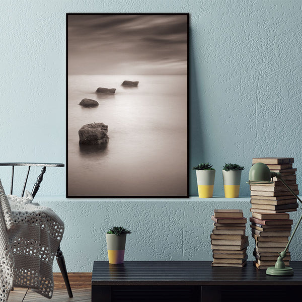 Abstract Lake Stone Natural Nordic Wall Pictures for Living Room Art Decoration Scandinavian Canvas Painting Prints No Frame