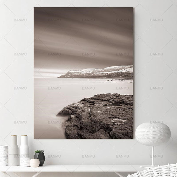 Abstract Nordic Mountain Lake Snow Winter Natural Wall Pictures for Living Room Art Scandinavian Canvas Painting Prints No Frame