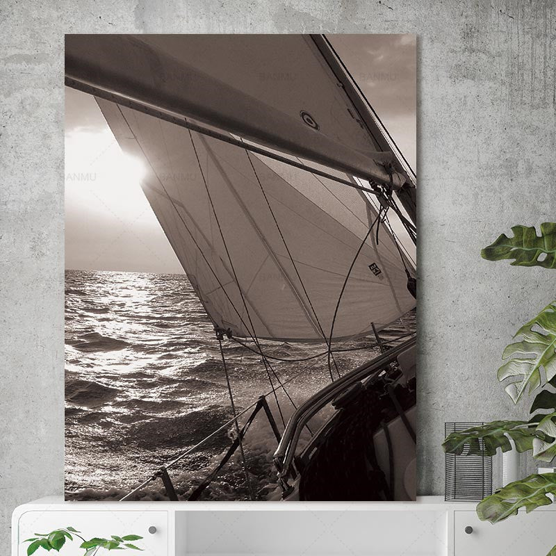 Canvas Painting Prints Sailboat Sea Nordic Abstract Sun Landscape Wall Pictures Art Decoration Pictures Scandinavian No Frame