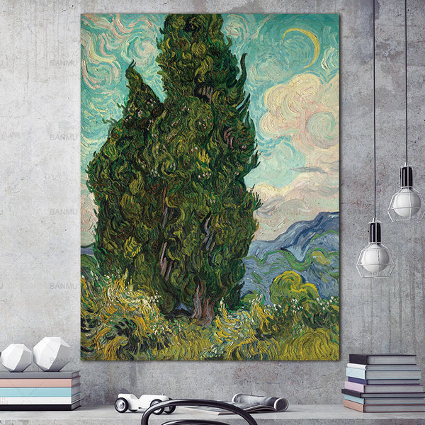 Wall Art Picturer print Villages and trees on canvas Canvas painting home decoWall poster decoration for living room no frame