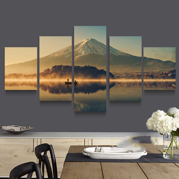 Wall Art Canvas Paintings Living Room Mount Fuji 5 Panels Wall Decora For Living Room Home Office Artwork Giclee Wall Art Decor