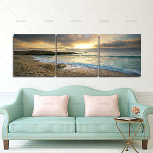 canvas painting wall art home decor poster  5 Piece Sunset Seascape Coco Beach  Wall Art HD Picture