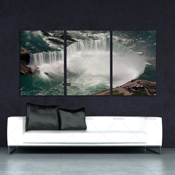 BANMU Canvasl painting wall art home docor 3 Pcs Overlooking Transnational Waterfall Niagara Falls Thor Water Wall Art Modern