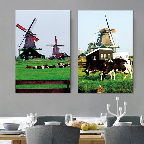 canvas painting European farm wall art print 2 penel cow art canvas Picture landscape Canvas home decoration no frame