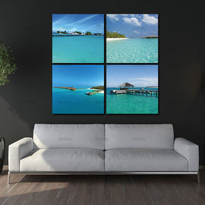 4pcs  Canvas Wall Art for Home Walls Decor canvas Paintings Modern Prints Artwork Landscape Blue Sea Beach Hut Pictures Photo