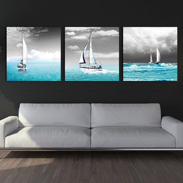 Canvas painting wall art picture home Huge Home Decorations-Sailing Boat sail in Blue Sea Canvas Print Modern Wall Painting