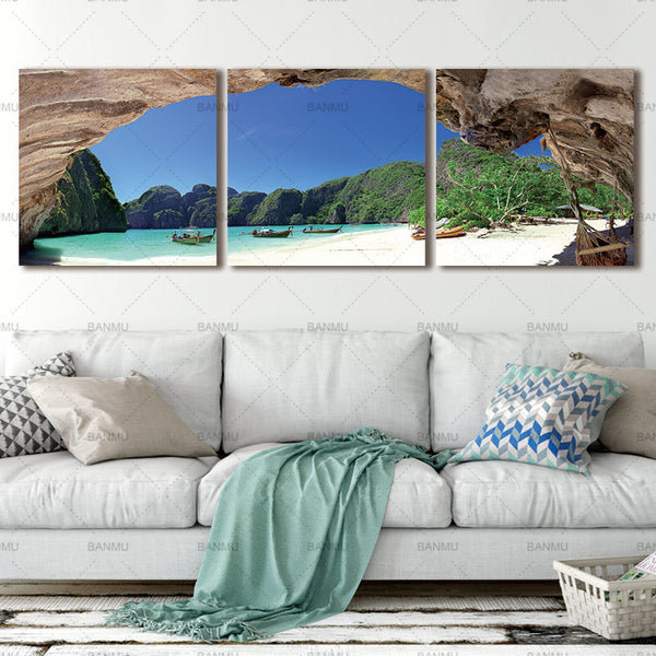 Picture canvas walll Charming Seascape Modern Wall Painting Art Picture Coco Tree Canvas Print Painting For Living Room Decor