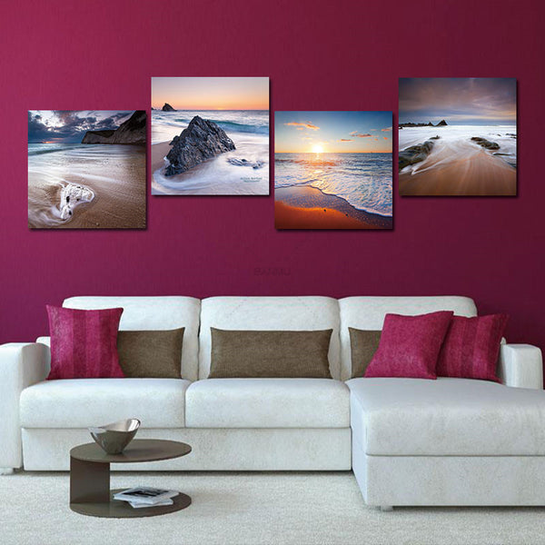 Home Decoration canvas painting 4 Panel Sea Beach Ocean Sunset Foam Painting Canvas Wall Art Prints Abstract Seascape Pictures