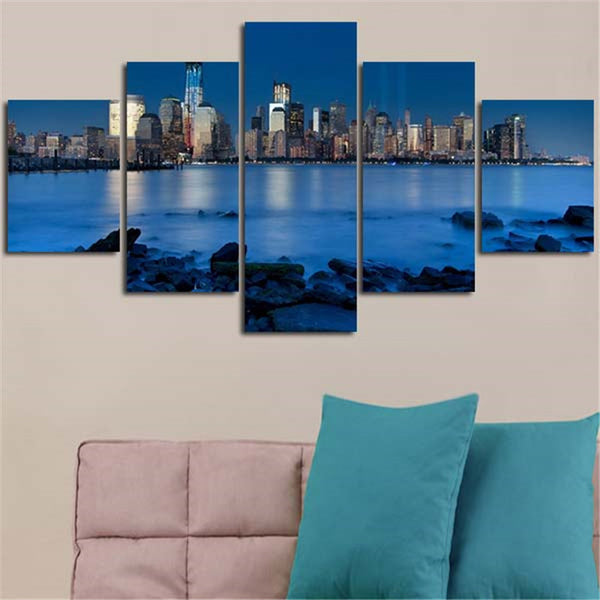BANMU 5 Planes Wall Painting Canvas Poster Blue River Stone Is Land City Home Decoration Art Picture For Living Room