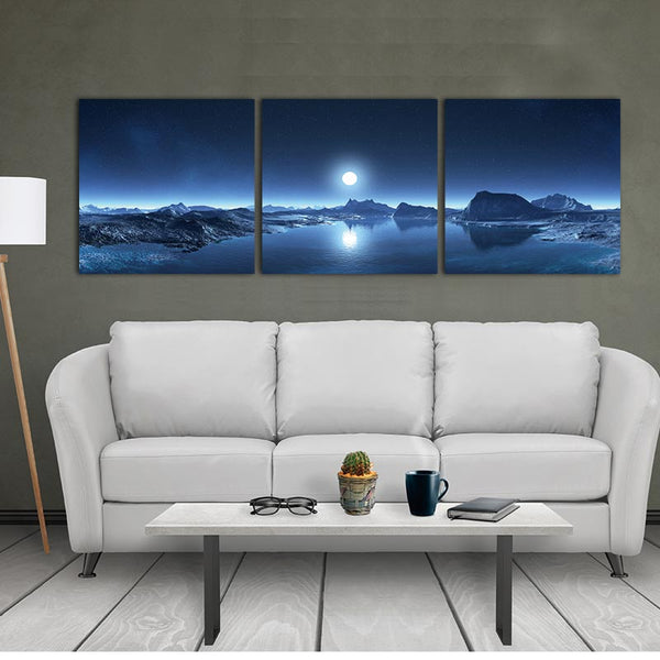 5 Panels Modular Picture Canvas Painting Mountain Lake Moon Nature Landscape Wall Art For Living Room Home Decor