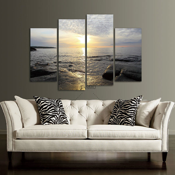 Wall Decor canvas painting picture 4 Panel Sea Scenery With Beach Modern Wall Art  Home Decoration Picture Paint on Canvas