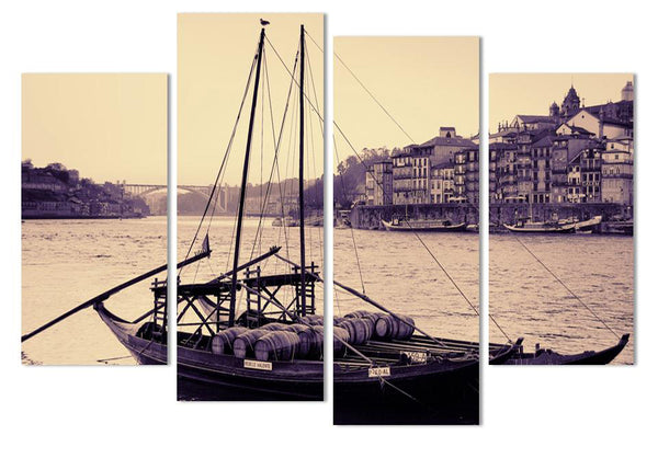 Canvas Photo Prints Wall Art Picture Canvas Paintings Wall Decorations 4 Panels  Antique Boat Seaview decor for living home