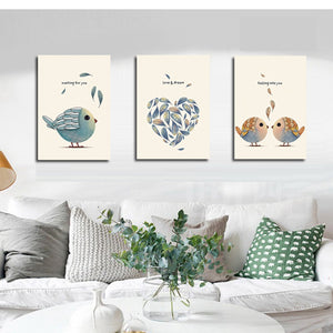 North Style Birds Animal Home Decoration Canvas Painting for Living Room Wall Decor Nordic Poster Wall Art Canvas Prints Artwork