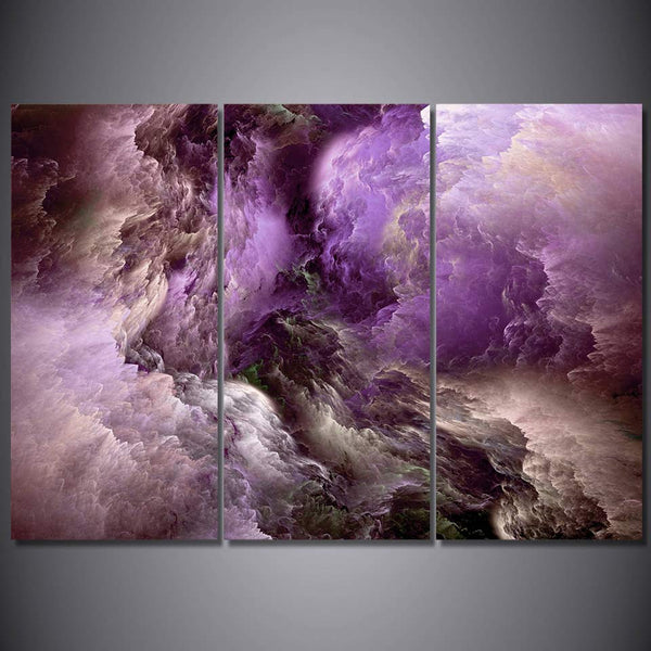 Purple Abstract Psychedelic Art Space Cloud Canvas Painting for Living Room Wall Decor 3 Pieces Poster Art Print Canvas Wall Art