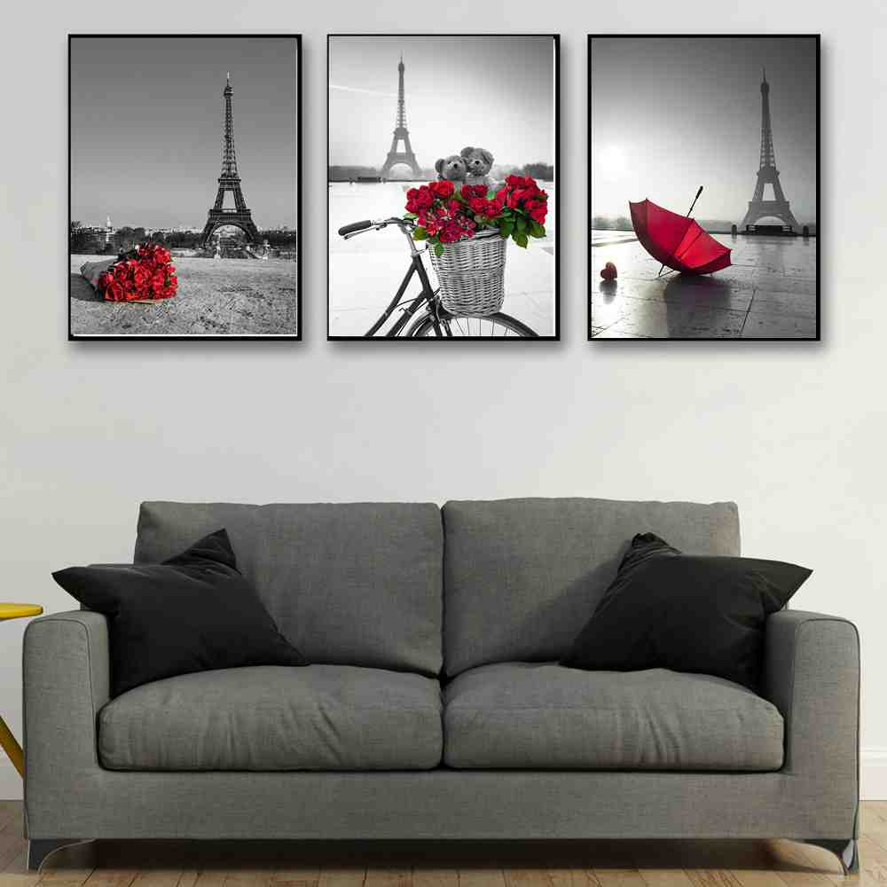 Black And White Paris Tower Wall Art Canvas Print Red Umbrella Rose Picture For Dining Room
