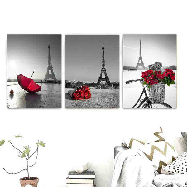 Black and White Paris Tower Wall Art Canvas Print Red Umbrella Rose Picture for Dining Room Wall Decor Romatic Poster Drop Ship