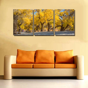 Autumn Landscape Picture Art Print Yellow Trees Home Decorative 3 Panels Artwork Painting for Bathroom Office Wall Decor Custom
