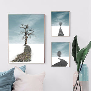 Nordic Poster Trees Canvas Print Abstract Wall Art Painting for Restaurant Hotel Wall Decor Tree Picture Vintage Home Decor Gift