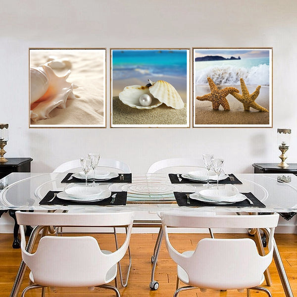 Poster Canvas Art Seascape Paintings Starfish Conch Shell Pearl Landscape Wall Art Print Picture for Office Room Home Wall Decor
