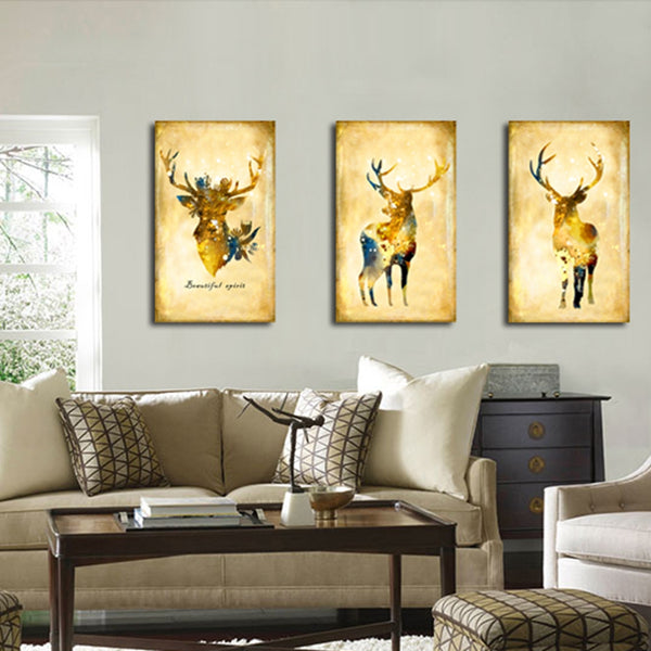 Retro Home Decorations Elk Canvas Painting for Kids Room Wall Decor Deer Animals Poster Dining Room Wall Art Canvas Prints Brown