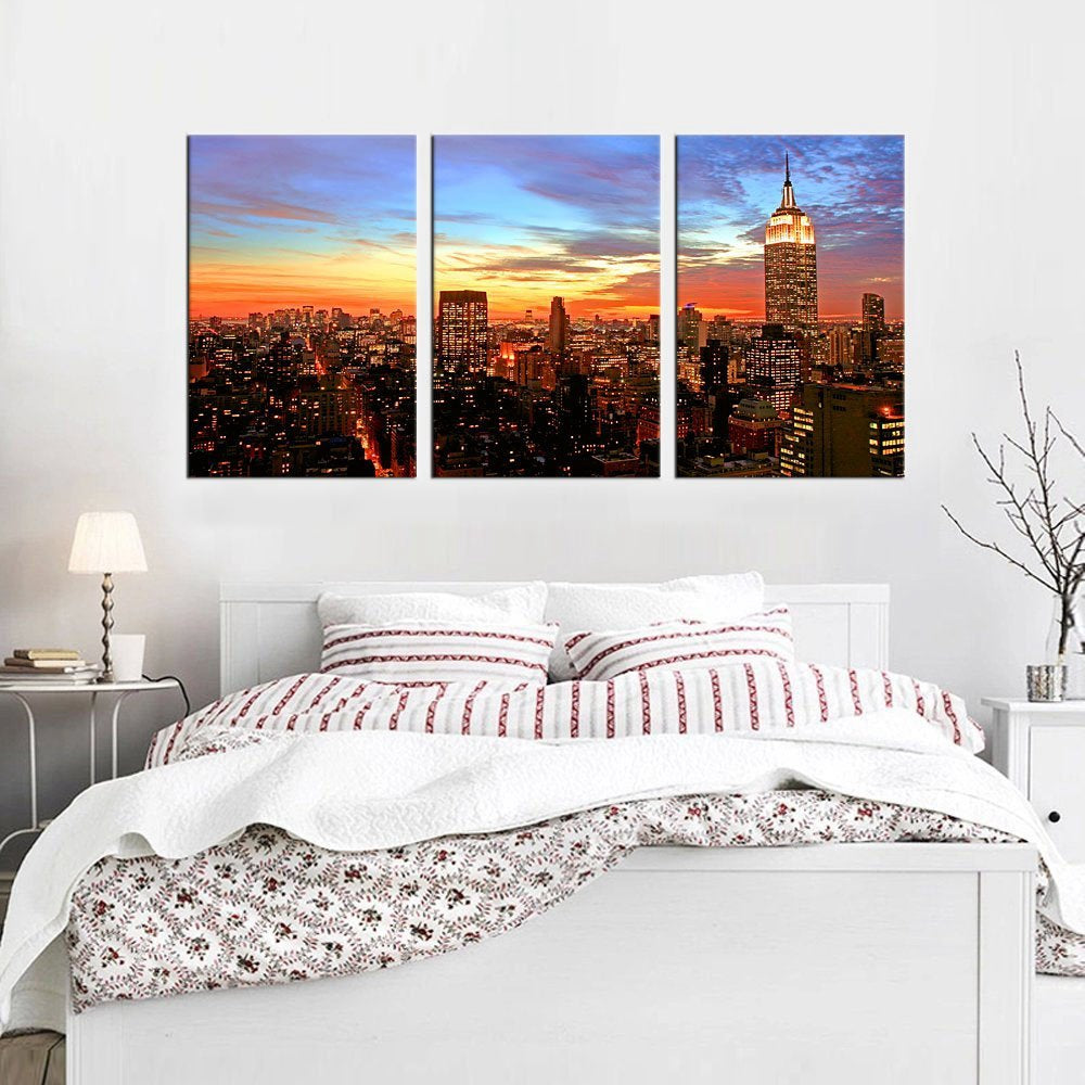 Wall Art Sunset Empire State Building New York City Skyline Canvas Painting Print Manhattan Picture Artwork for Bedroom Decor