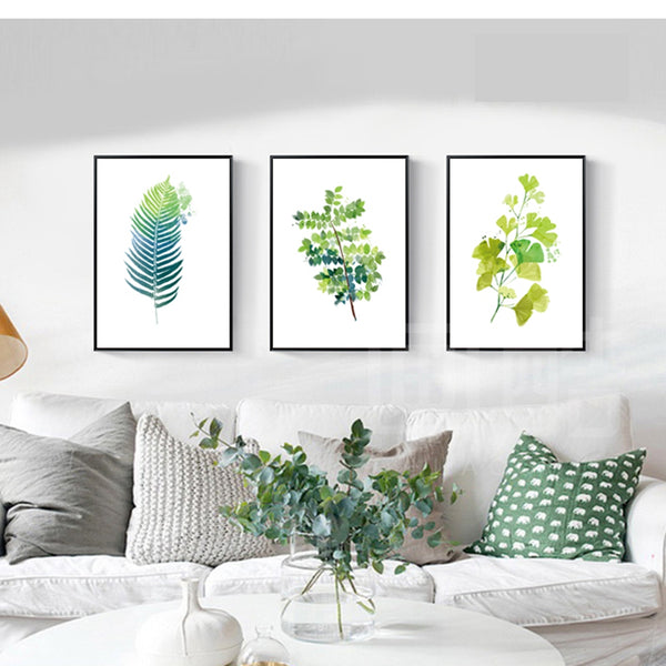 Drop Shipping Bathroom Pictures Nordic Poster Art Green Leaves Wall Art Canvas Prints Office Painting for Wall Canvas Painting