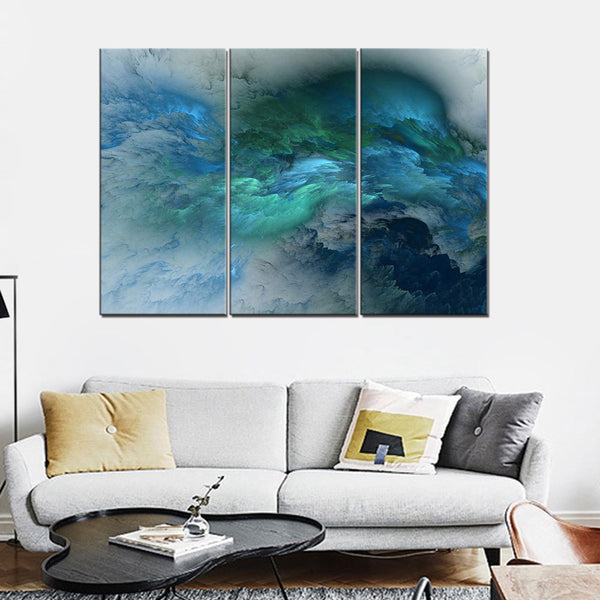 Green and Blue Canvas Wall Art Psychedelic Space Cloud Landscape Poster Abstract Art Print Canvas Painting for Home Wall Decor