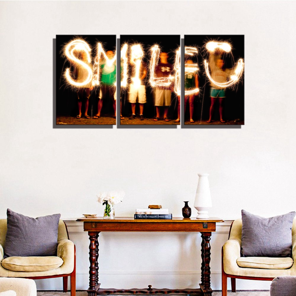 Smiling Face of Fireworks Landscape Poster Wall Art Canvas Prints Smile Picture Artwork Office Painting for Wall Decor Wholesale