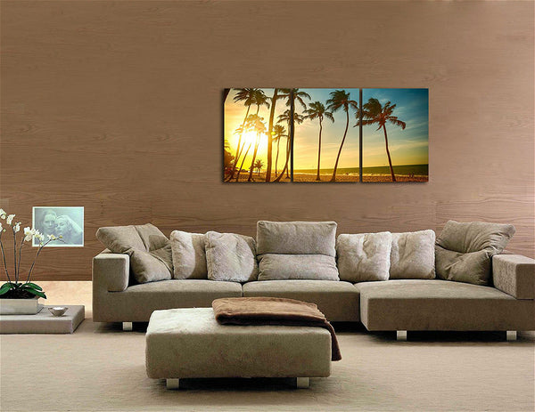 Palms on Beach Under Sunshine Canvas Print Wall Art Abstract Painting Seascape Artwork for Home Office Decor 16X24Inch Unframed
