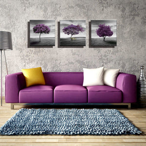Wall Art 3 Panel Purple Trees Landscape Artwork Giclee Canvas Paintings for Living Room Wall Decor Posters and Prints Pictures