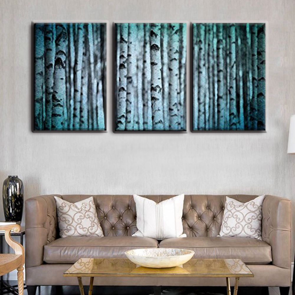 3 Panels Modular Wall Art White Birch Forest HD Print Christmas Decoration Artwork Picture Painting Canvas for Home Decor Gift