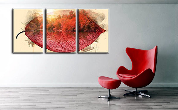 Beautiful Impressionist Maple Trees in Autumn One Piece Red Leaves Canvas Painting Print for Home Office Decor Wall Art Gift