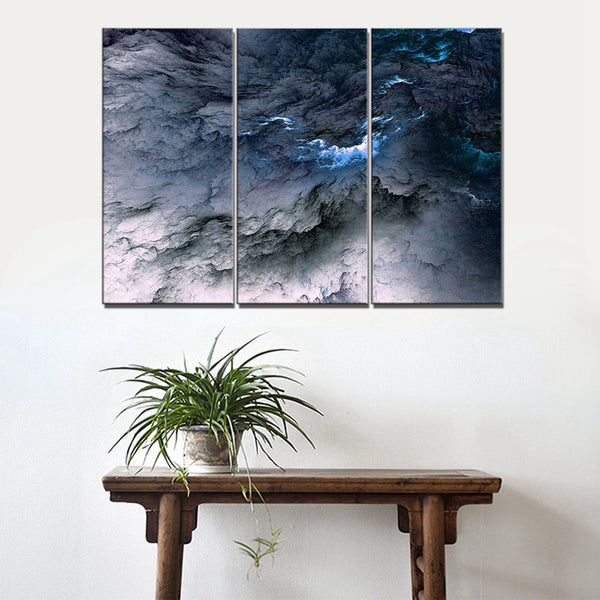White and Blue Abstract Landscape Wall Art Canvas Painting for Room Wall Decor Abstract Psychedelic Art Space Cloud Home Decor