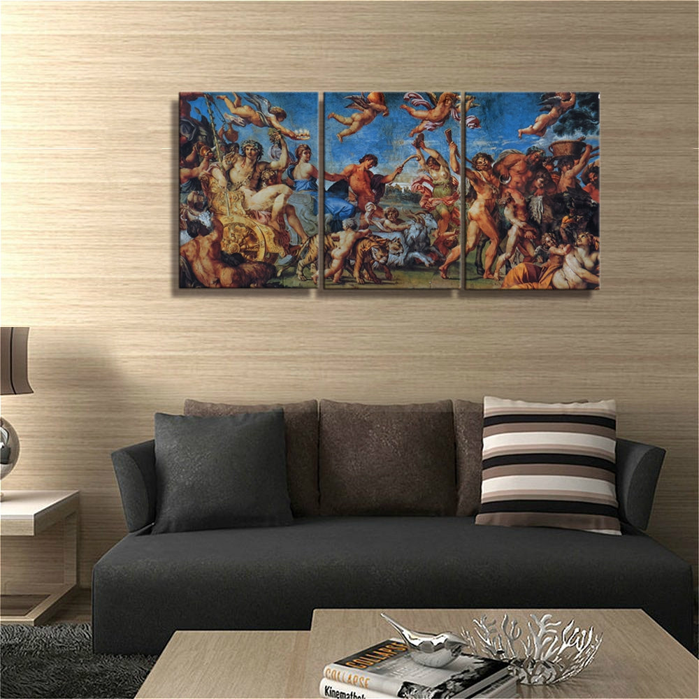 Vintage Decor The Triumph of Bacchus and Ariadne Farnese Gallery Rome Reproduction Canvas Painting for Room Wall Art Home Decor