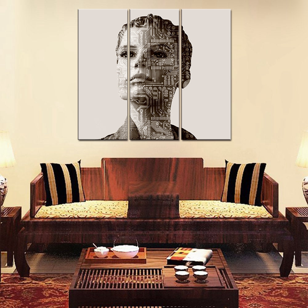 Christmas Decorations for Home Abstract Woman Painting Canvas Print Circuit Board Wall Pictures for Living Room Wall Art Gifts