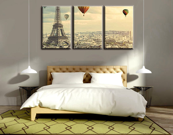 Christmas Decoration Wall Art Famous Paris Tower and Balloon Painting Print for Home Office Wall Decor Canvas Artwork Gifts