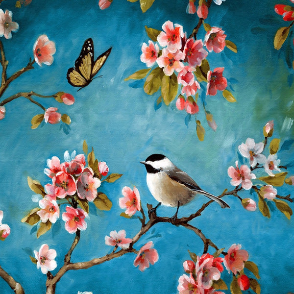 Waterproof Canvas Painting Beautiful Magpies Stand On The Plum Tree Oil Painting For Living Room Wall Art Print Home Decoration